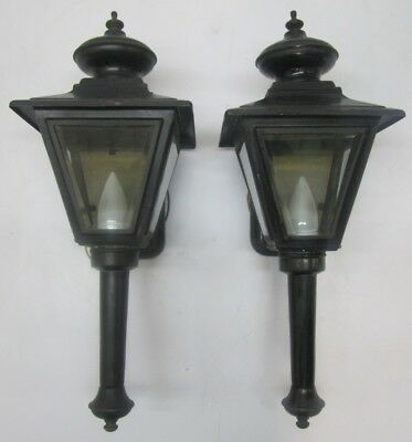 2 Vtg Black Brass Carriage Lantern Sconce Porch Lights Glass Panels Repair Parts