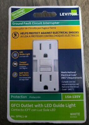 Leviton Ground Fault Circuit Interrupter GFNL1-W 15A-125V