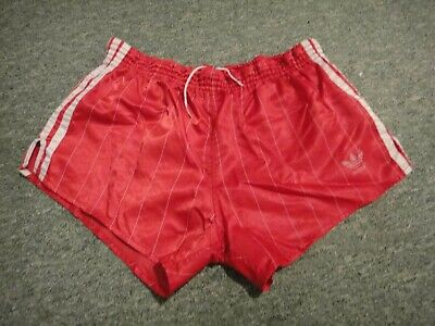 Vintage 1970s/80s Adidas Red glanz nylon football shorts D6 XL