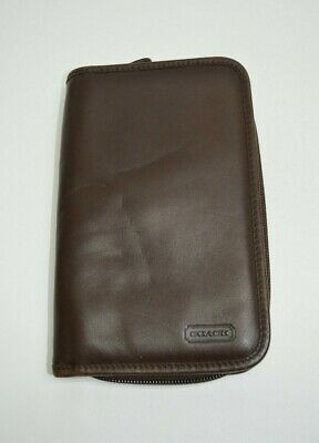 Coach Vintage Brown Leather Zip Around Large Tech Case Planner Organizer