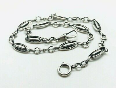 ANTIQUE SILVER ART DECO FRENCH WATCH CHAIN UNUSUAL DESIGN RARE COLLECTABLE 1920s