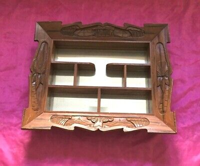 """Antique Mirrored Carved Wood 7 Shelves Wall Hanging Shelf  21.5"""" x 17.5"""" - Nice!"""
