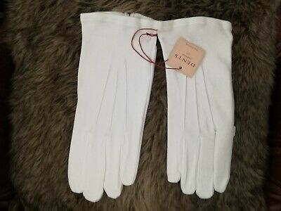 DENTS White Mens Formal Gloves Cotton Small