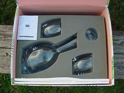 NEW NAMBE Crystal Clear Tilt Decanter Set w/ Stopper and 2 Glasses FREE SHIPPING
