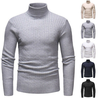 Mens Winter Thermal Turtle Neck Knitted Sweater Stretch Pullover Shirts Jumper