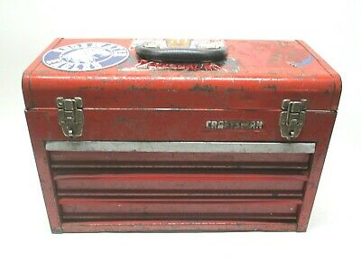 Vintage Craftsman 3 Drawer Metal Mechanics Chest Tool Box