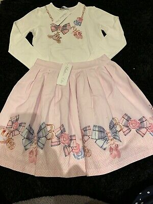 Girls Brand New With Tags Spanish Balloon Chic Top And Skirt Set Age 10 Years.