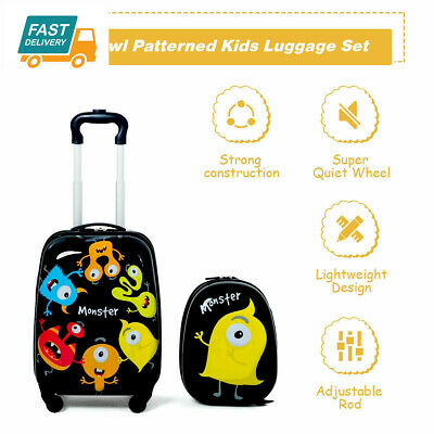 "2 Pcs Kids Lightweight Waterproof Luggage Set 12"" Backpack 16"" Rolling Suitcase"