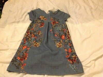 Next Girls Beautiful Grey Floral Dress Size 5yrs