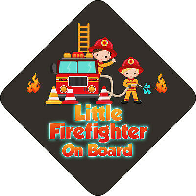 Non Personalised Child/Baby On Board Car Sign~Little Firefighter On Board