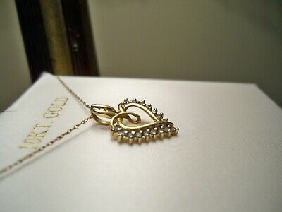 """Diamond Heart 10k Pendant and 18"""" Gold Chain Necklace Original Box Marked ADL"""