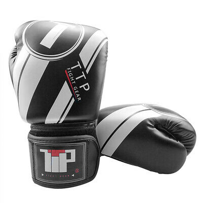 10oz Pro Box Champ Sparring Boxing Gloves Training Fighting Black White Adult UK