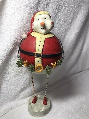 "Vintage Lori Mitchell Christmas Santa Snowman Figure 12"" with Joy Tree Garland"