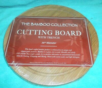 Cutting Board With Trench The Bamboo Collection 10 inch Diameter