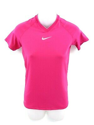 NIKE PRO Womens T Shirt Top L Large Pink Polyester & Spandex Dri-Fit