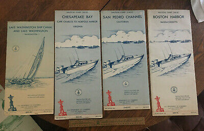 Vintage 1964 Nautical Charts Lake Washington, Boston Massechusetts, California
