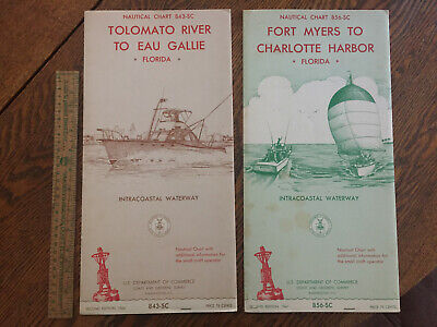 Vintage 1964 Nautical Charts Fort Myers - Charlotte Harbor, Tolomato R. Florida