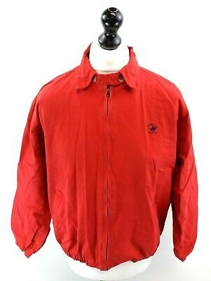 BEVERLEY HILLS POLO CLUB Mens Harrington Jacket S Small Red Cotton