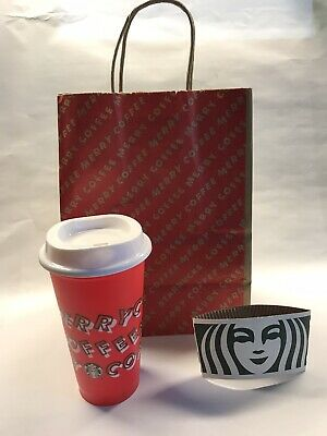 Starbucks 2019 Cup Holiday Christmas Red Reusable Hot 16 oz Plastic Merry Coffee