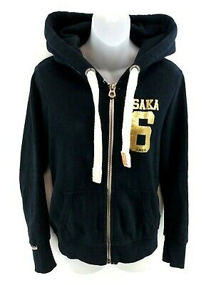 SUPERDRY Womens Hoodie Jacket S Small Black Gold Cotton & Polyester