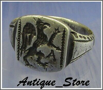 ** GRYPHON ** Ancient Legionary Silver Greek Roman Ring ** AMAZING **