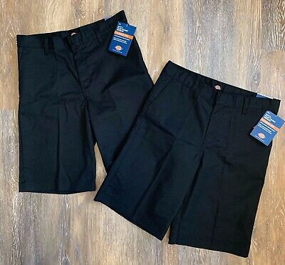 ~2~ Dickies Boys Size 16  Flat Front Shorts Black Uniform NWT Classic Easy Care