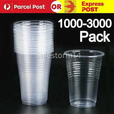 Disposable Plastic Cups Clear Reusable Drinking Water Cup Party Set 200ml Bulk I