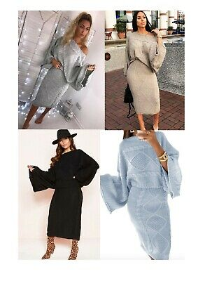 Womens Ladies Cable Knit Co-ord 2 Piece Jumper and Midi skirt Knitted Set