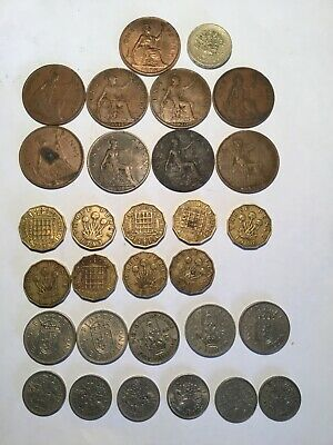 rare uk coins,shillings,threepences and sixpences ,one pennies and one pound coi