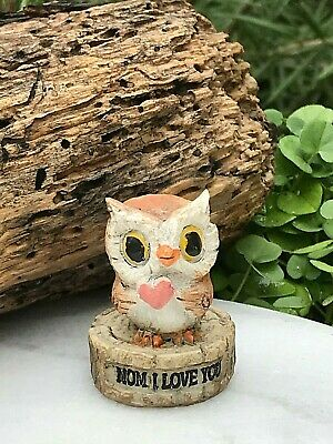 Miniature Dollhouse FAIRY GARDEN Figurine ~ Mini OWL Family Tree DAUGHTER Love U