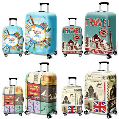 Printed Elastic Dustproof Travel Suitcase Cover Luggage Protector Colorful NJB
