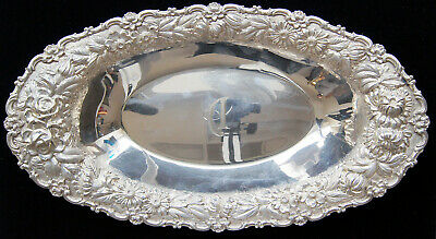 """Stieff ROSE Sterling Hand Chased Silver Bread Tray 13"""" 14.09 OZT w/ MONO - B0577"""