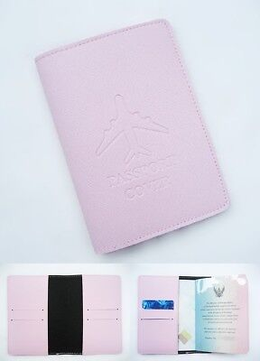 Pink Unisex Travel Accessory Soft Leather Classic Passport Cover ID Card Holder