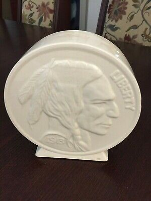 Buffalo Nickel Piggy Bank white ceramic VINTAGE -with stopper  1913 on coin