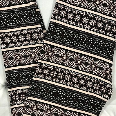 NEW One Size Tribal Print Leggings Buttery Soft Pants 2-12 OS Black Brown