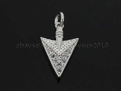 Clear Zircon Gemstones Pave Triangle Arrowhead Pendant Charm Beads Silver