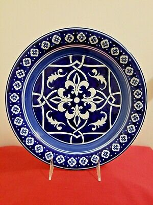 """Home CATALINA MEDALLION BLUE Dinner Plate 11/"""" Blue White Heavy 1 ea 20 available"""