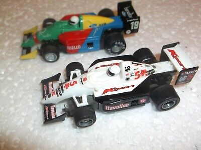 1995 TYCO SHOWA 11 /& Benetton 19 F-1 INDY Slot Car Free Rolling Pair 9807 PROMO