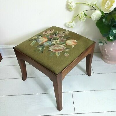 Needlepoint Mahogany Footstool Floral Green  Needlework  Tapestry Antique
