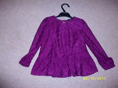 Girls Purple/Burgandy Fully Lined Long Sleeved Top Age 3-4 Years from George