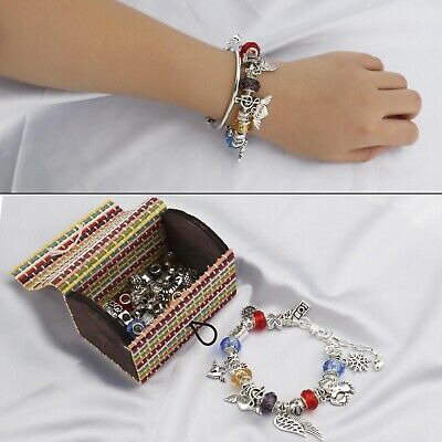 DIY Bead Chain Bracelet Set 66pcs Women Silver Plated Craft Jewelry Birthday