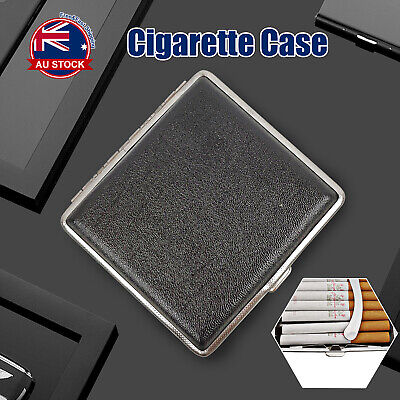 Stainless Steel+Pu Cigar Cigarette Tobacco Case Pocket Pouch Holder Box C