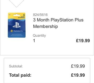 SONY PlayStation Plus 3 Month Subscription - Argos