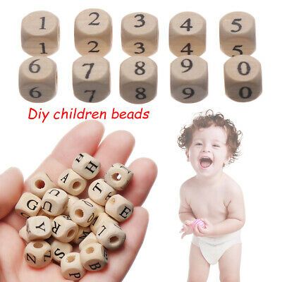 Smooth Alphabet/Number Natural Wooden Beads Baby Teether Mom DIY Necklace