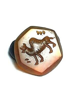 Orig Stamp camel  carnelian Smokey Agate Intaglio  Engraved Dome Seal Bead