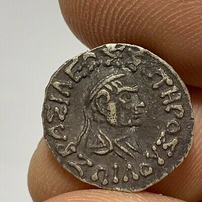 ANCIENT GREEK SILVER DRACHM COIN INDO - GREEK ZOILOS 1.6gr 18.8mm