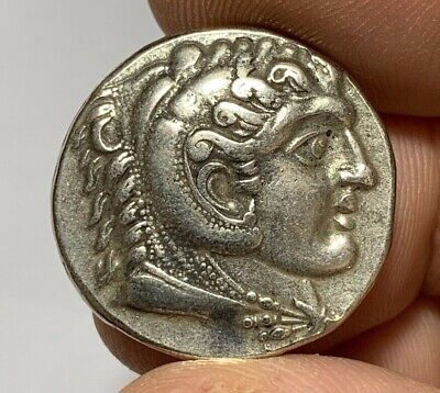 ANCIENT GREEK SILVER TETRADRACHM COIN ALEXANDER THE GREAT  FOURRE 9.1gr 27.1mm