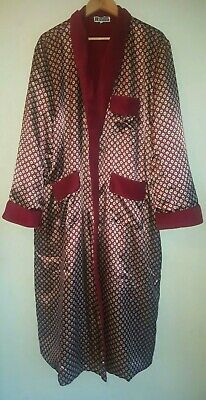 vintage mens smoking jacket dressing gown house coat red silky size XL theatre