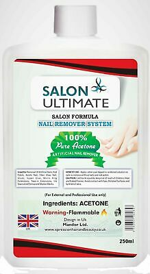 100% Pure Acetone Salon Ultimate Nail Polish Remover UV/LED GEL Soak Off 250ML