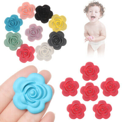 Food Grade Necklace DIY Mini Rose Pacifier Chain Baby Teethers Silicone Beads